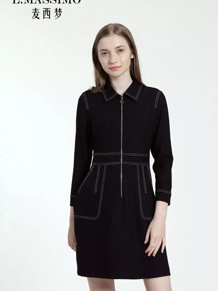 麦西梦女装品牌2020秋季翻领黑色收腰连衣裙