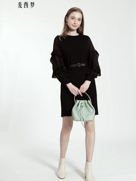 麦西梦女装品牌2020秋季黑色皮带收腰连衣裙