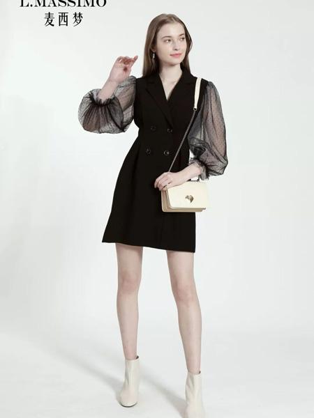 麦西梦女装品牌2020秋季泡泡袖V领黑色双排扣连衣裙
