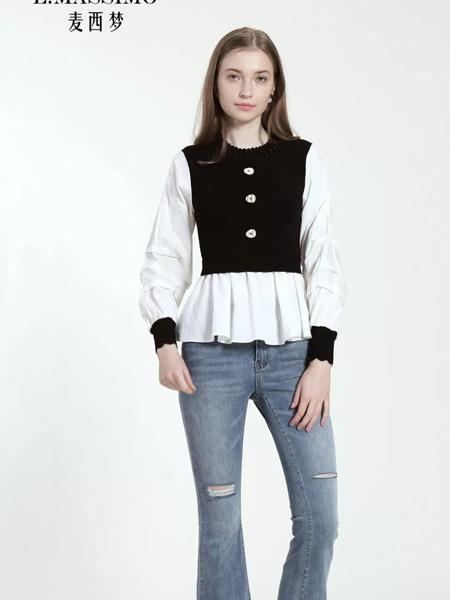 麦西梦女装品牌2020秋季黑色单排扣背心