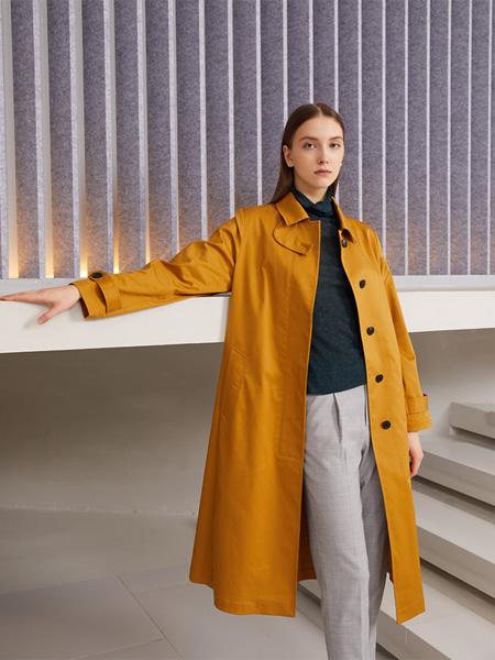SUYAN溯巖女裝品牌2020秋冬土黃色風衣外套