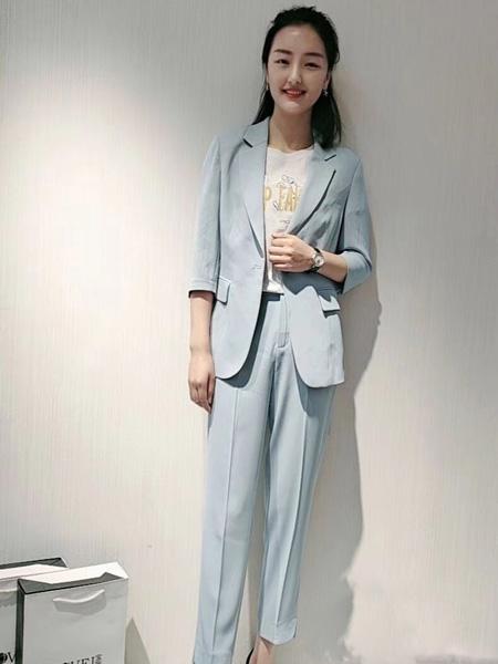 宝薇女装品牌2020春浅蓝色西装套装