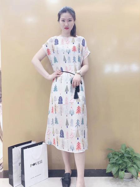 宝薇女装品牌2020春夏白色树木印花连衣裙