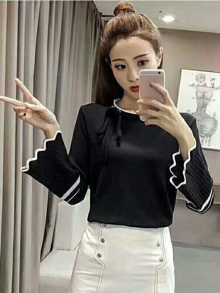 E元素女装品牌2020秋季荷叶袖修身针织毛衣