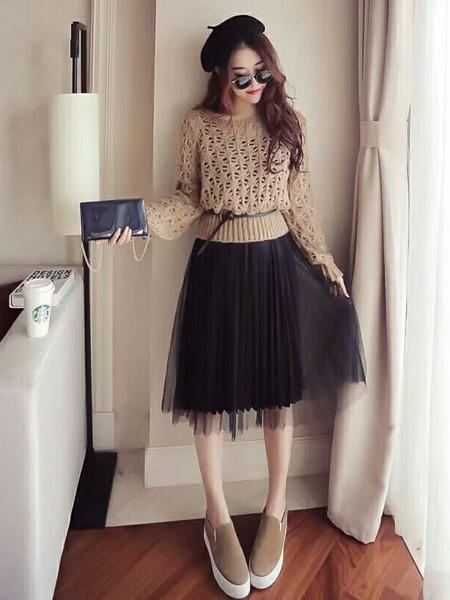 E元素女装品牌2020秋季甜美镂空毛衣