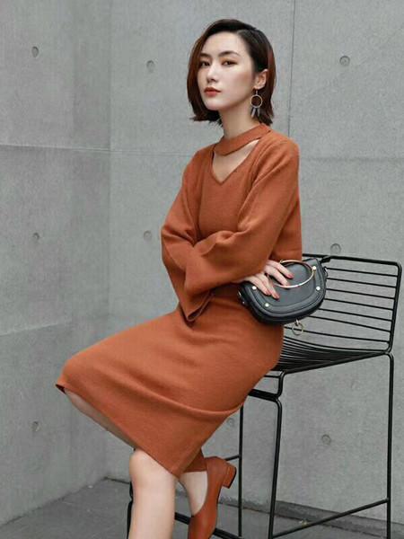 E元素女装品牌2020秋季不规则时尚毛衣裙