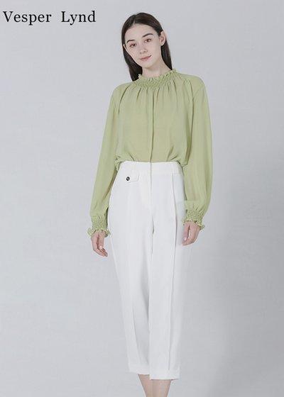 Vesper Lynd女装品牌2020春夏花边荷叶边衬衫长袖