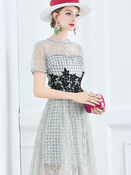伯妮斯茵ERNIEELEN女装品牌2020春夏相思灰色连衣裙--洛可可艺术