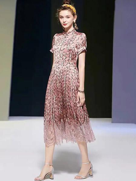 伯妮斯茵ERNIEELEN女装品牌2020春夏十样锦色连衣裙--洛可可艺术