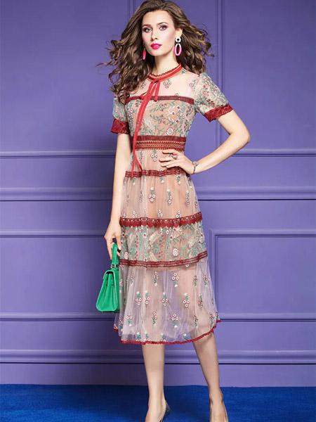 伯妮斯茵ERNIEELEN女装品牌2020春夏大红色系带十样锦色连衣裙--洛可可艺术