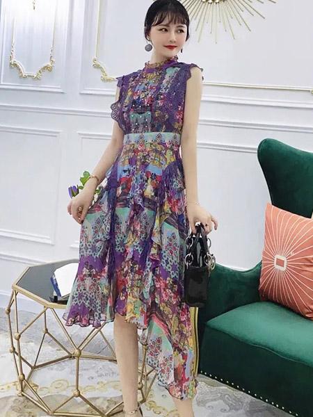 伯妮斯茵ERNIEELEN女装品牌2020春夏青莲色连衣裙--洛可可艺术