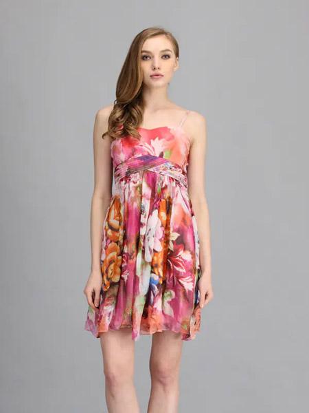伯妮斯茵ERNIEELEN女装品牌2020春夏吊带粉色花朵连衣裙--花眷