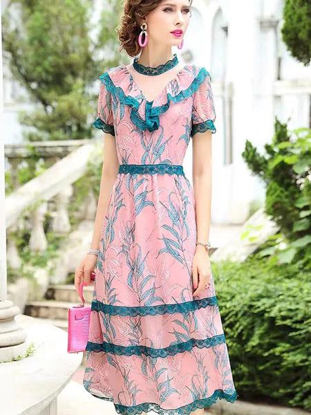 伯妮斯茵ERNIEELEN女装品牌2020春夏V领蓝边粉色十样锦色连衣裙--洛可可艺术