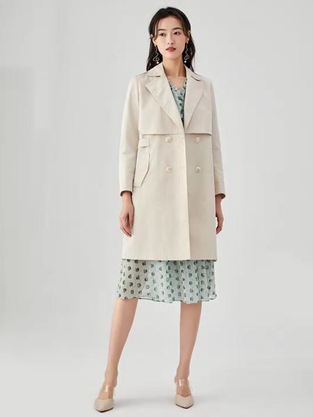 凡恩女装品牌2020春中长款米色外套