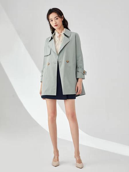 凡恩女装品牌2020春灰绿色西装外套