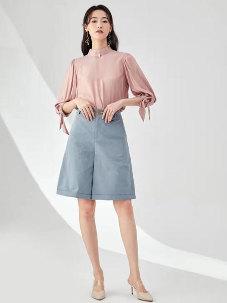 凡恩女装品牌2020春夏圆领粉色上衣灰蓝色半裙