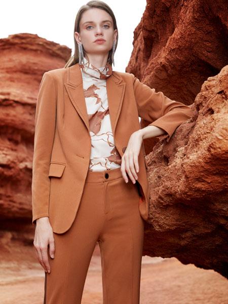 芝仪女装品牌2020秋季咖色西装外套长裤
