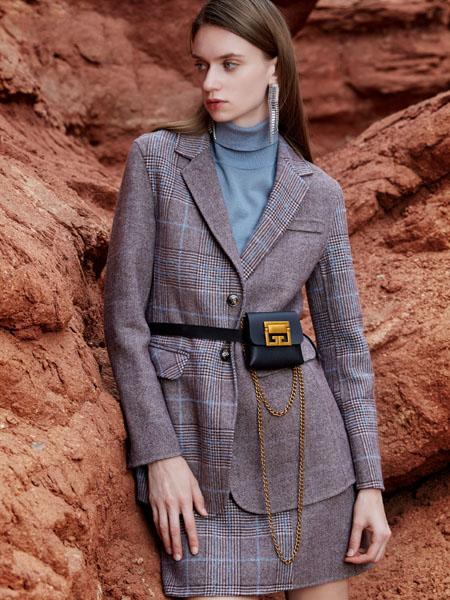 芝仪女装品牌2020秋季深灰色格纹西装套裙
