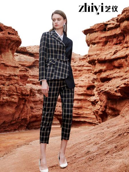 芝仪女装品牌2020秋季格纹不对称黑色套装
