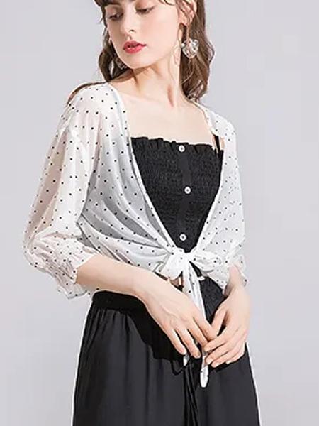 蓝缇儿女装品牌2020春夏薄款波点外套白色