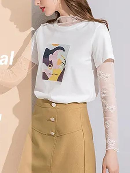 蓝缇儿女装品牌2020春夏圆领白色T恤卡其色半裙