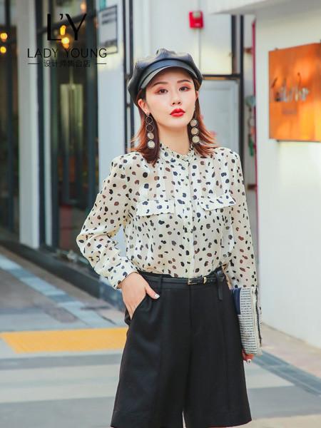 LADY YOUNG女装品牌2020秋季雪纺波点衬衫