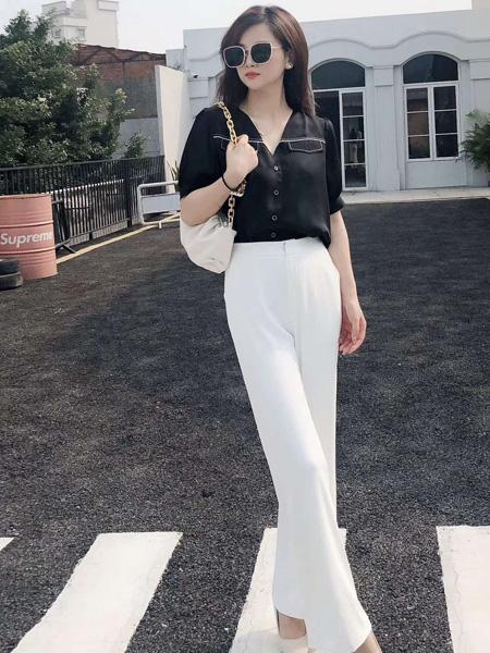 E+女装品牌2020春夏V领黑色衬衫雪纺衫