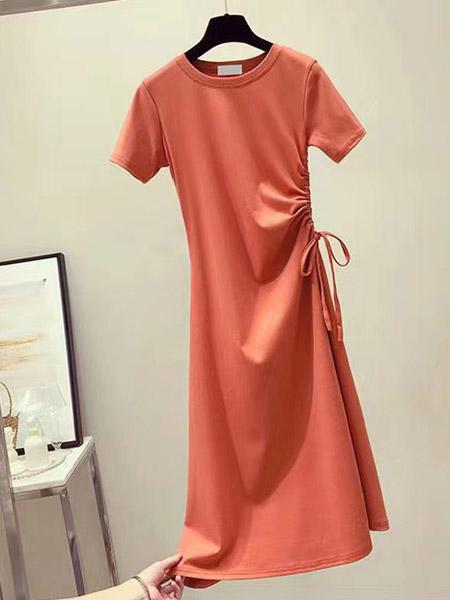 欧朴树女装品牌2020春夏修身橙红色连衣裙