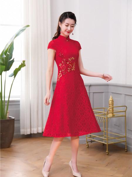 唐雅阁女装品牌2020春夏大红色旗袍连衣裙