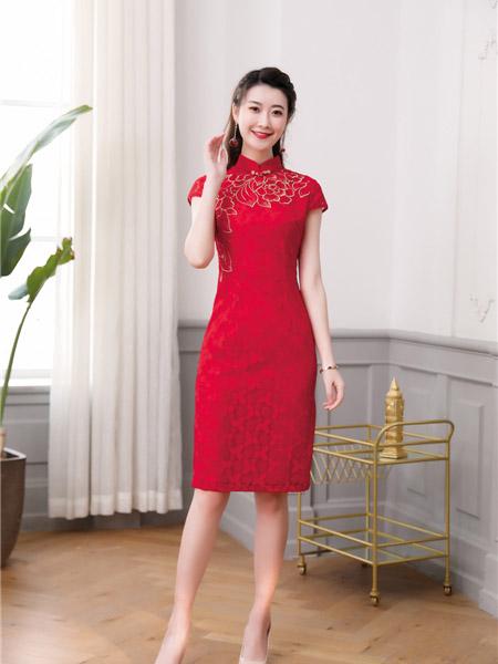 唐雅阁女装品牌2020春夏修身大红色旗袍连衣裙