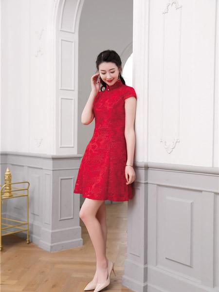 唐雅阁女装品牌2020春夏短款大红色旗袍连衣裙