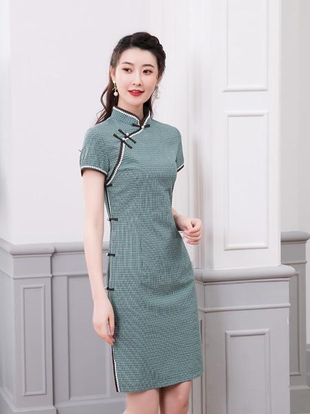 唐雅阁女装品牌2020春夏格纹青色旗袍连衣裙
