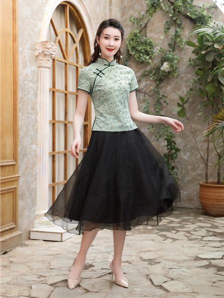唐雅阁女装品牌2020春夏青色旗袍上衣网纱黑色半裙