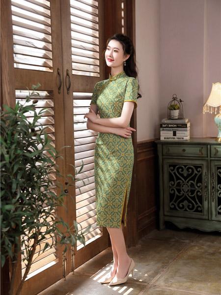 唐雅阁女装品牌2020春夏青色几何图旗袍连衣裙
