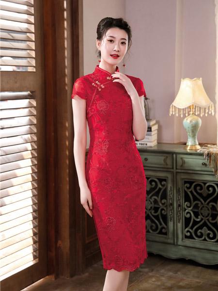 唐雅阁女装品牌彩38平台2020春夏修身大红色旗袍连衣裙