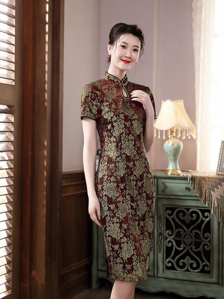 唐雅阁女装品牌彩38平台2020春夏青色花朵褐色旗袍连衣裙