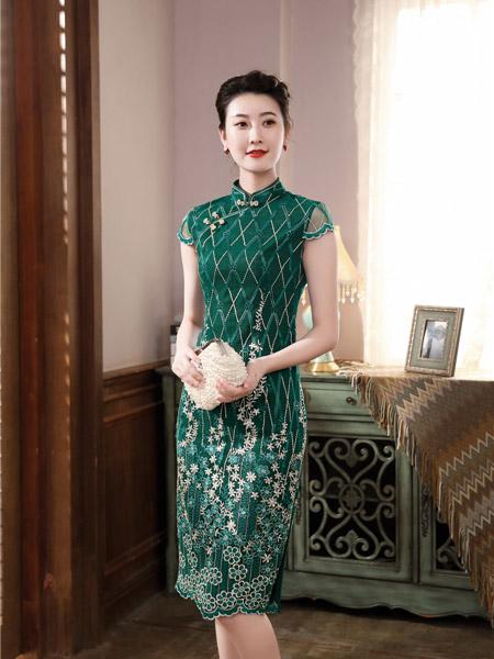 唐雅阁女装品牌2020春夏几何图青色旗袍连衣裙