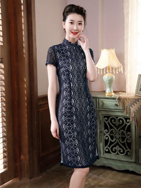 唐雅阁女装品牌2020春夏黑色旗袍连衣裙