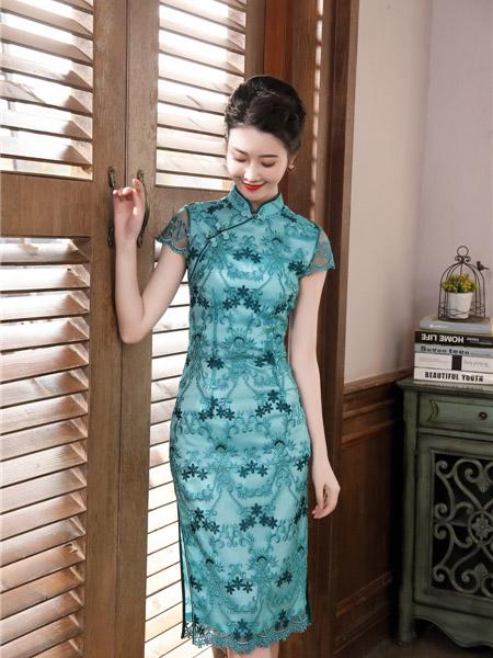唐雅阁女装品牌2020春夏蓝色碎花旗袍连衣裙