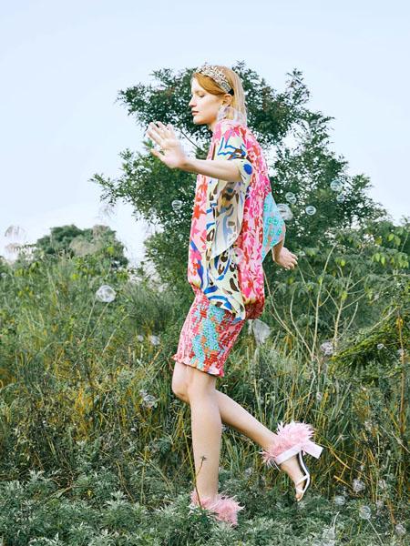朗美睿女装品牌2020春夏粉色雪纺衫短裤