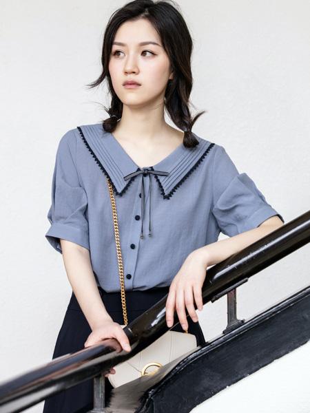 pit女装品牌2020秋季V领蓝色荷叶边雪纺衫