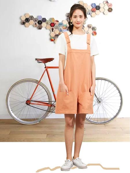 薇可蔻V.kekou女装品牌2020春夏短橙色背带裤