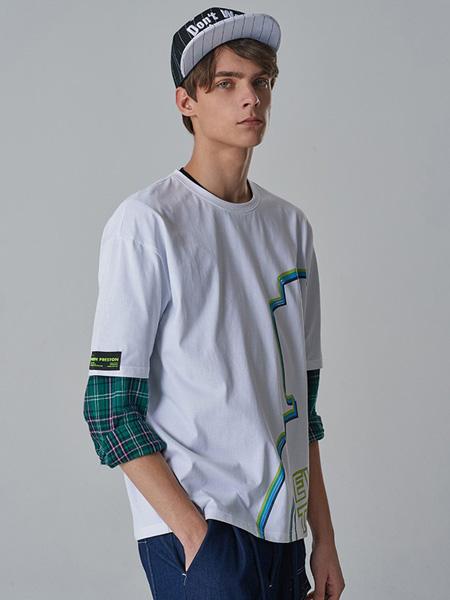 子夫男装品牌2020春夏格纹袖白色圆领T恤