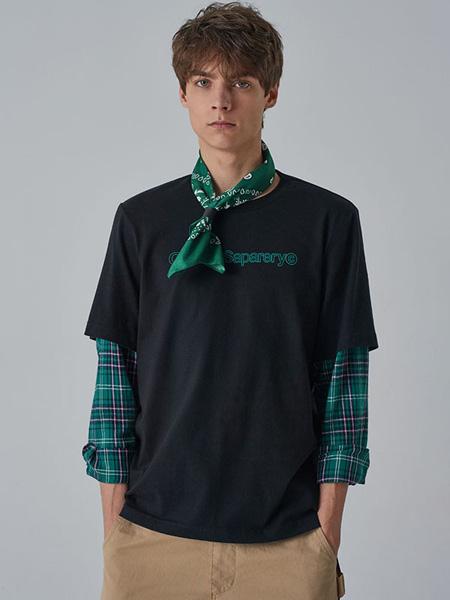 子夫男装品牌2020春夏黑色T恤格纹袖