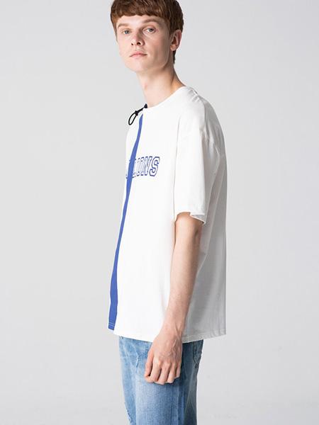 子夫男装品牌2020春夏圆领白字母T恤