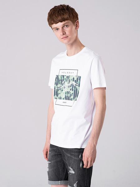 子夫男装品牌2020春夏绿色印花白色T恤