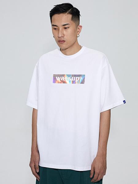 WASSUP男装品牌2020春夏圆领白色字母T恤
