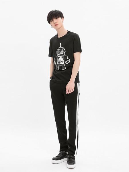 M-77男装品牌2020春夏机器人印花黑色T恤