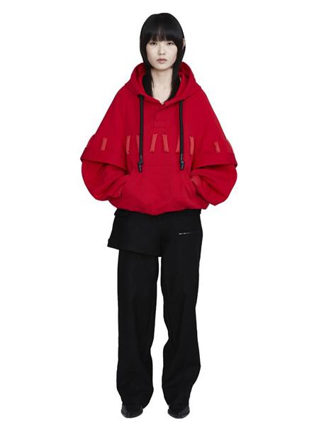 CHENPENG休闲品牌2020秋冬大红色连帽卫衣