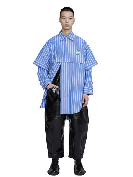 CHENPENG休闲品牌2020秋冬竖纹蓝色衬衫